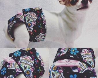 Sugar Skulls Day Of The Dead Female Girl Dog Diaper Customized Luxury Washable Housebreaking Season Heat
