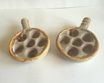 Set of 2 Porcelain Snail/Escargot Dishes Made in Canada