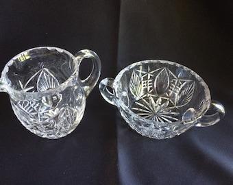 ABP Clear Crystal Heavy  Fan and Horizontal Cut Creamer and Sugar Bowl Set