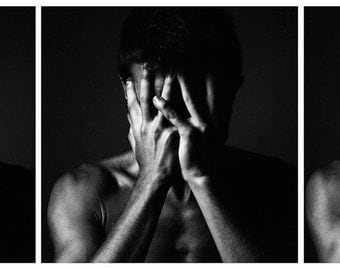 Man's hands - triptych Art photo black and white photo