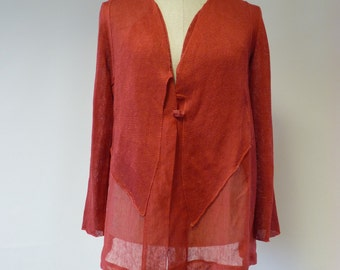 Casual coral linen cardigan, XL size.