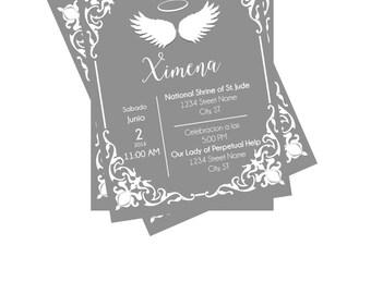 Baptism or Christening Invitation - Angel Theme (Invitacion de Bautizo de Angel)