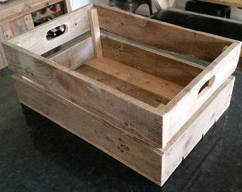 Medium Bespoke handmade wooden crate with reclaimed wood