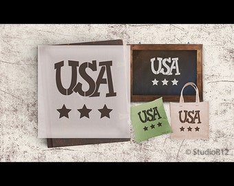 USA Word Stencil - SELECT SIZE - STCL861 - by StudioR12