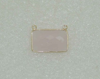 Pink Chalcedony 22K Gold Plated 925 Sterling Silver Connector.