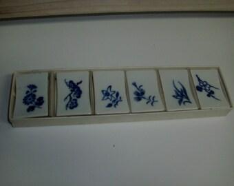 6 Vintage ceramic floral made in Japan chopstick holders