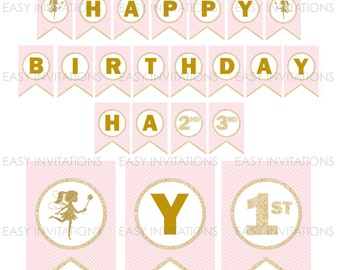 Fairy Birthday Banner, Fairy Birthday Party, Printable Birthday Banner, Glitter Fairy, Pink gold party, 1st, Instant Download, fairy bunting