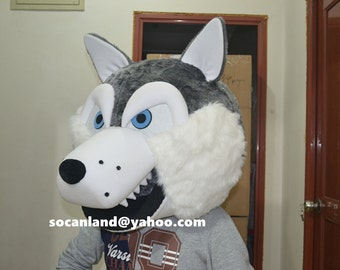Deluxe Wolf Fur Head,Wolf Head Mask,Wolf Furry Head,Wolf Fur Cosplay,Wolf Fur Adults,Wolf Furry Adults