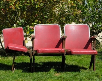 Antique / Vintage French 1900's Paris Theatre or Cinema Double Seat with Fold Down ThirdAisle Seat