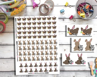 059 - (92- Bunny Stickers) Bunny, Feed Bunny,Clean Bunny Cage, Planner Sticker, Kiss Cut Stickers
