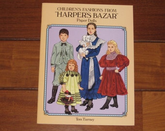 """1995 Children's Fashions from """"Harper's Bazar""""Paper Doll Book by Tom Tierney (Uncut)"""