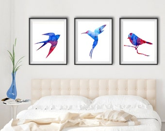 Set of 3 Watercolor Bird Art - red and blue - Watercolor Bird Art - home decor