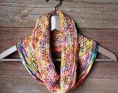 Woven Rainbow Hand Knit Infinity Cowl Scarf