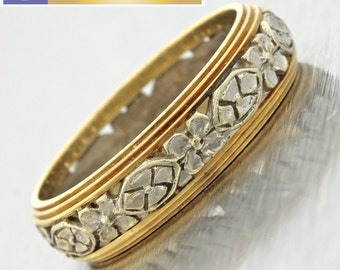1930s Antique Art Deco 14k White & Yellow Gold Etched Floral Wedding Band Ring