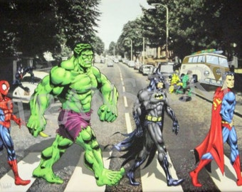 DIGITAL COLLAGE / transfer Beatles Abbey Road Avengers Marvel Comics.. .to print