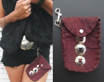 SALE. Leather fanny pack. Ox blood leather. Silver conchos. Conchos. Western conchos. Fanny pack. Medicine bag. Crystal bag. Witchy woman