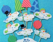 Snowman cupcake toppers, 13 melting snowman cupcake toppers, snowman toppers, snowman party theme, snowman cake topper, snowman