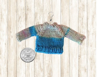 Miniature Sweater Ornament // Mini Sweaters // Gray Electric Blue Hand Knit // Dollhouse Doll Miniatures // Womens Gifts / Unique / Handmade