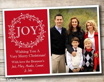 Christmas Photo Card Joy Photo Card Christmas Joy Holiday Photo Card Holiday Card Printable Joy Card