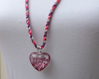 Heart pendant, glass pendant, pink pendant, plaited necklace, summer jewellery