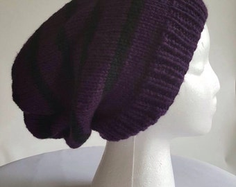 The Clifton... Oversized Slouchy Beanie in Purple and Black