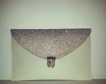 Crystallised Leather Clutch Bag