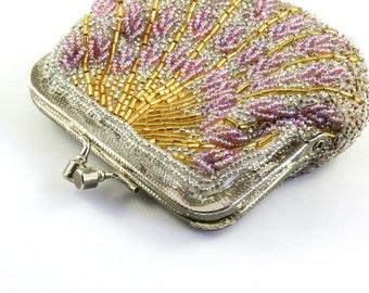 Glamorous seed bead coin purse beaded change purse vintage