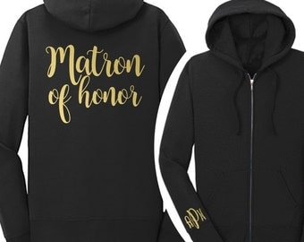 Personalized Matron of Honor Fleece Full-Zip Hoodie {with Monogram on Arm} | Matron of Honor Jacket | Matron of Honor Sweatshirt | #1006