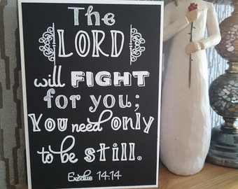 Exodus 14:14 - Chalkboard Style Greeting Card -  Encouragement Card - The Lord will fight for you...