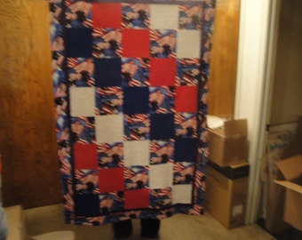 """Wounded Warrior Project Handmade Quilt-Red, White & Blue-Approx. 40"""" x 60"""" - Free Shipping"""