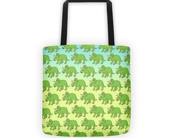 Triceratops Tote Bag - dinosaur tote, market bag, cute tote bag, dino lover gift, funny gifts, funny shopping bag, dinosaur purse