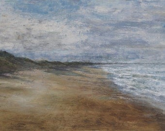 Bamburgh Beach Summer Northumberland Coast Signed Limited Coastal Edition Print from Original Oil Landscape Painting
