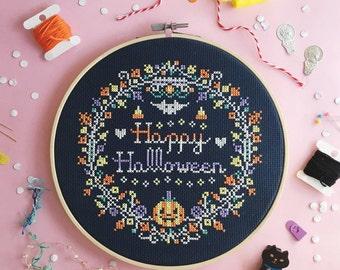 Halloween cross stitch patterns funny cross stitch world modern cross stitch spooky cross stitch pumpkin craft Happy Halloween Wreath