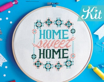 Cross stitch kits Gift for new homeowners Punto cruz modern Home DIY ideas Point de croix modern Housewarming gift idea Easy DIY Home Decor