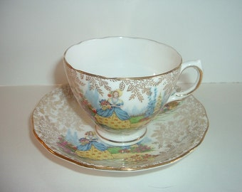 Mayfair Bone China England Lady in Garden Cup and Saucer