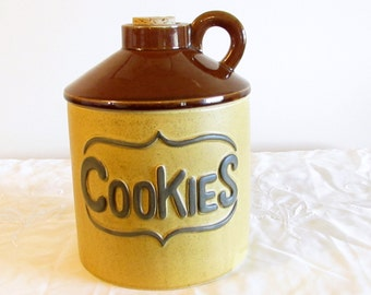 Pottery Cookie Jar, Whiskey Bottle Shaped Cookie Jar, Country Kitchen Decor, laslovelies