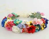 Colorful Flower Crown Floral Headband Flower Crown Bohemian Headpiece Rustic Headband Bridal Crown Wedding Wreath Rainbow Floral Crown