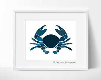 Blue Crab Print, Printable Art Download for a Nursery, Kids Room, Playroom, or Beach Decor