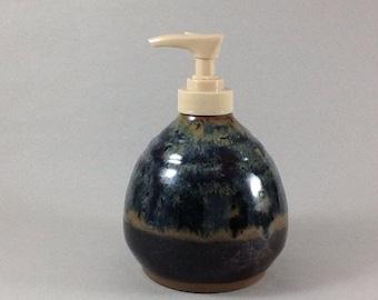 Ceramic dispenser, Pottery Soap or lotion dispenser, Handmade lotion bottle, Black dispenser