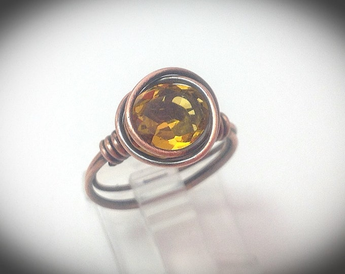 Antique copper wire statement ring with topaz
