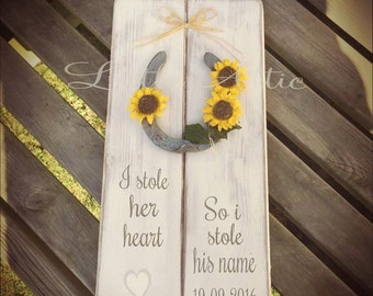 SunFlower Wedding, Horse Shoe, Gifts for couple, Wedding Decorations, Wooden wedding signs, Floral designs