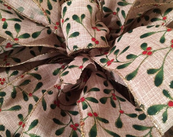 Christmas tree topper. Large Christmas tree bows. Christmas ribbon with holly. Christmas decor. Christmas decorations. ornaments.