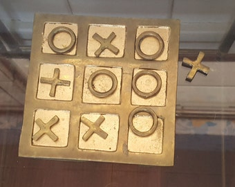 Vintage Brass Tic Tac Toe Game