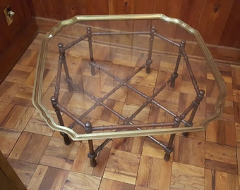 Faux Bamboo & Brass / Glass Top Coffee Table