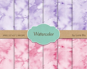 "Watercolor Digital Paper: ""Lavender and Pink Watercolor"" pastel watercolor overlays, pastel textures, watercolor backgrounds"