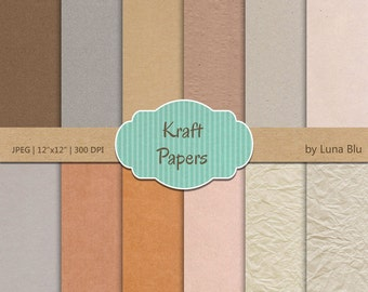 "Kraft digital paper: ""Kraft Paper"" includes carboard, textured papers in warm neutral colors, crumpled paper, wrinkled, construction paper"