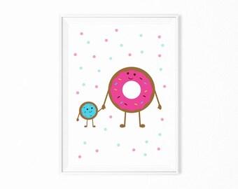 Printable poster donuts print wall art scandi kids room scandinavian