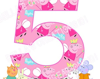 Peppa Pig Birthday iron on transfer DIGITAL image *Made to order*