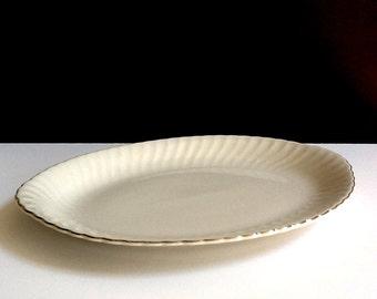 "Large Oval White 16"" Platter with Swirl & Platinum Trim, Wedding Ring, Syracuse Fine China"