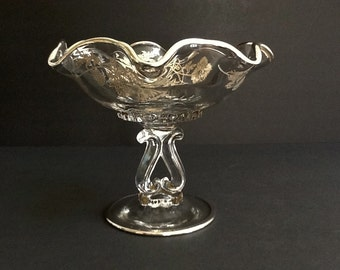 Mid Century Silver Overlay Pedestal Dish, Silver City, Flanders Pattern, Floral Pattern & Ruffled Rim, Silver Trim